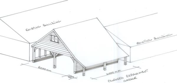 Oak Framed Building Sketch