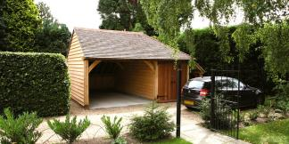 1-Bay Oak Framed Garage with Storage & Side Aisle