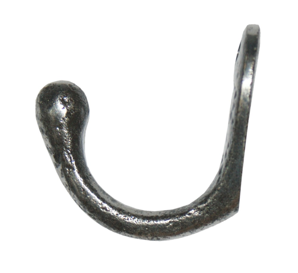 Pictured: Rounded Single Rams Head Hook- Polished Wrought Iron