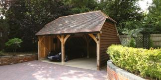 2-Bay Oak Framed Garage with Barn Hip Roof