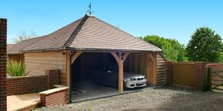 2-Bay Oak Framed Garage with Gable Roof Profile