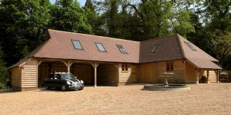 Oak Framed Garage Complex featuring a 3-Bay, Leisure Space & Log-store