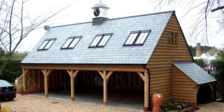 4-Bay Oak Frame Garage with Living Accommodation & Clock Tower