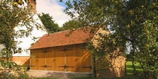 3-Bay Oak Framed Garage with Oak Garage Doors, Gable Roof & Catslide