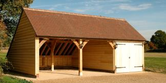 3-Bay Oak Framed Garage with Painted Oak Garage Doors, Gable Roof & Catslide