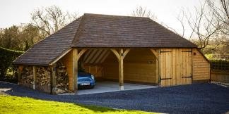 3-Bay Oak Framed Garage with Garage Doors, Log-store & Side Aisle