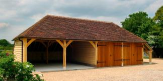 4-Bay Oak Framed Garage with Oak Doors & Log-store