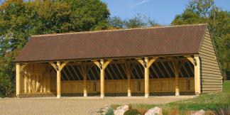 4-Bay Oak Framed Garage, Gable Roof & Catslide