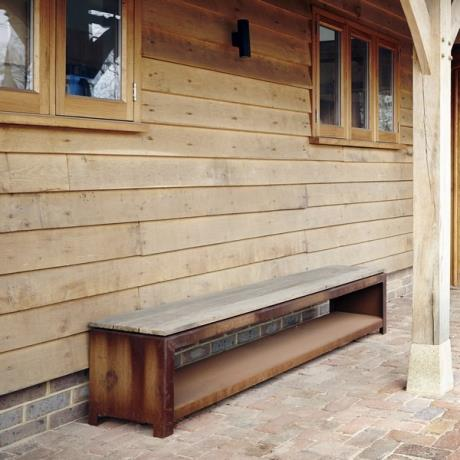 Corten Steel wood storage unit - bench rust