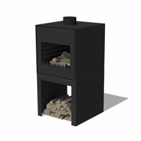 Black Thor Corten Steel Standing Wood Burner / BBQ / Garden Fire