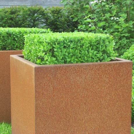 Adezz Corten Steel Planters Cube Box Square Pot Container metal flower tree shrub garden feature