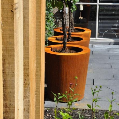 Adezz Corten Steel Planters Cylinder Round Tapered Garden Flower tree Shrub Pot Container Jar Tub Feature Metal