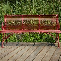 Antique Red Claw Feet Bench