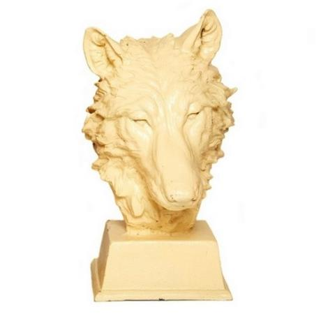 Cast Iron Antique White Wolf Head Dog Animal Garden Bust Statue Feature Sculpture