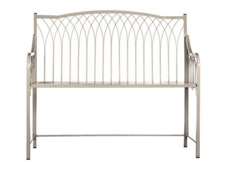 Wilton wrought iron bench / garden furniture / fold away / white