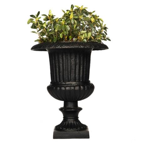 Black Cast Iron Fluted Venetian Urn Garden Planter