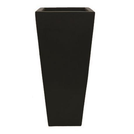Black Polystone Tall High Square Flared Tapered Garden Planter
