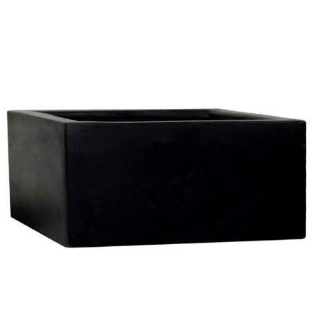 Black Polystone Low Cubic Garden Planter