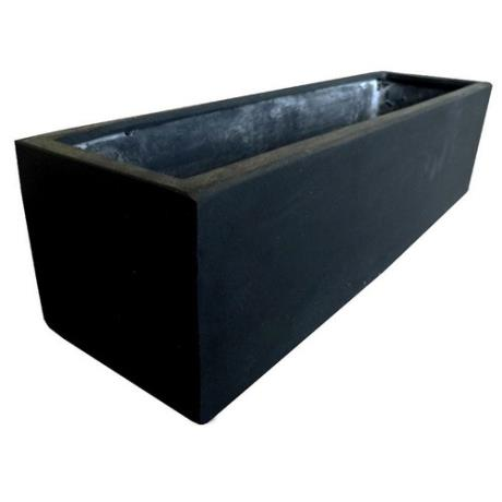 Black Polystone Small Rectangular Garden Trough Planter