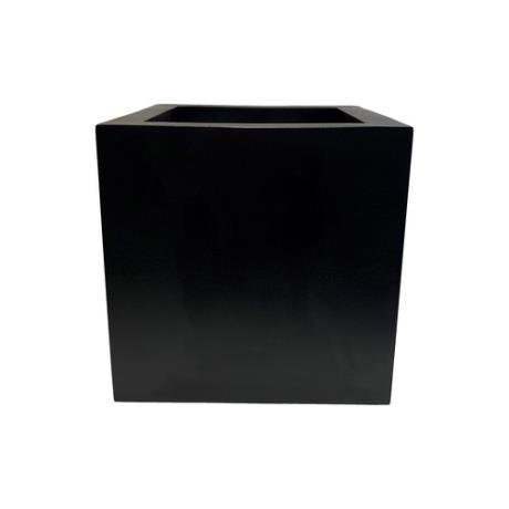 Black Satin Fibrestone Square Box Garden Planter