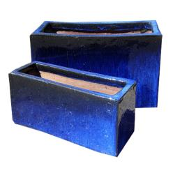 Blue Glazed Trough Planter