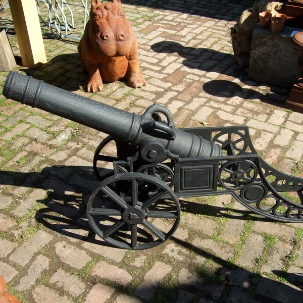 Cannon cast iron statue / garden feature / ornament / sculpture