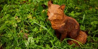 Cast Iron Garden Statues; Sitting Fox