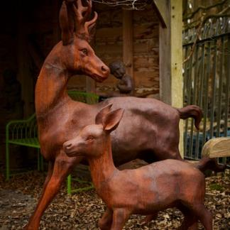 Cast Iron Garden Statues; Frolicking Stag & Calf