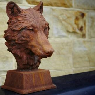 Cast Iron Garden Statues; Wolf Head