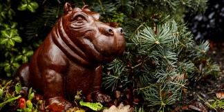 Cast Iron Garden Statues; Mini Happy Hippo
