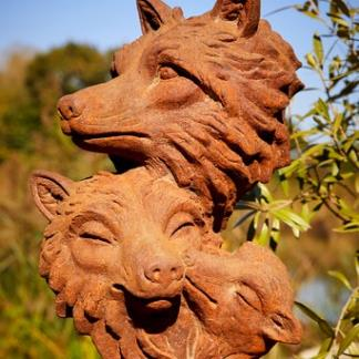 Cast Iron Garden Statues; Fox Family