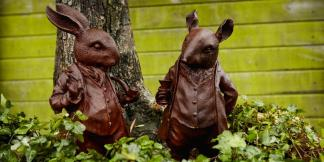 Cast Iron Garden Statues; Woodland Creature Pair