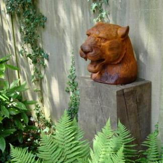 Cast Iron Garden Statues; Cougar Head