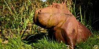 Cast Iron Garden Statues; Happy Hippo