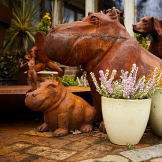 Cast Iron Garden Statues; Mum & Baby Happy Hippo