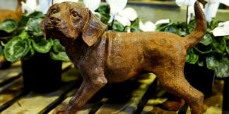 Cast Iron Garden Statues; Rust Puppy Dog