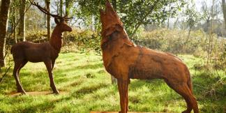 Cast Iron Garden Statues; Majestic Stag & Howling Wolf on Plinth