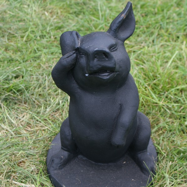 Cheeky Piglet Statue Black