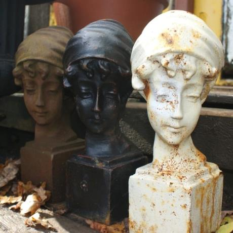 Cast Iron Rust, Antique White & Bronze Classic Girl Bust Garden Statue Feature Sculpture