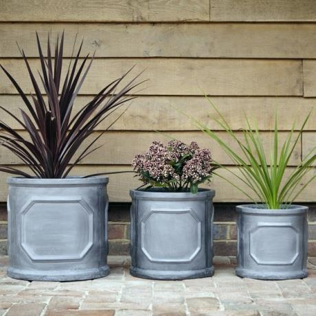 Faux Lead Clayfibre Chelsea Round Cylinder Garden Planters