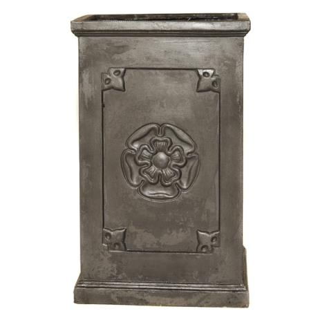 Faux Lead Clayfibre Tall Rose Square Box Garden Planter
