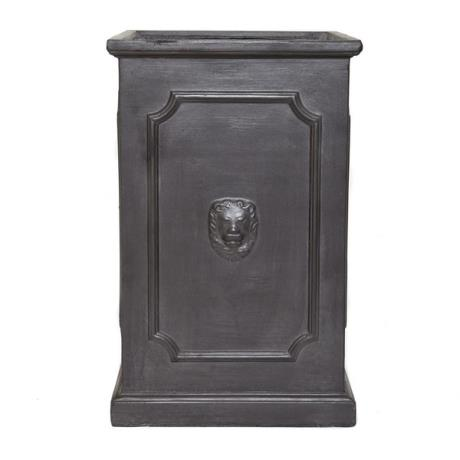 Faux Lead Clayfibre Tall Lion Head Square Garden Planter