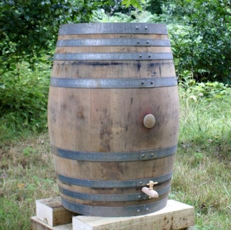 Converted French Oak Wine Barrel Water Butt Garden Feature