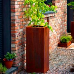 High Corten Steel Rectan Cube Planter
