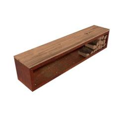 Corten Steel Jardi Wood Storage Bench