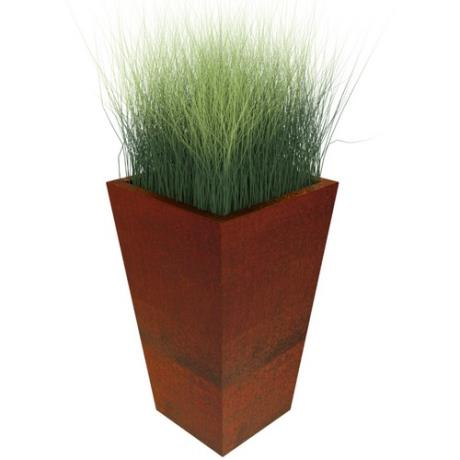 Corten Steel Manga Tapered Flared Square Cube Garden Planter