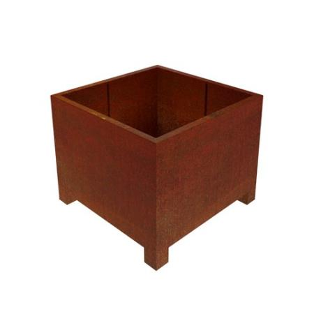 Corten Steel Pedes Square Cube Planter with Feet