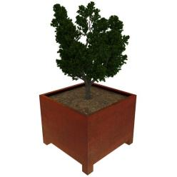 Low Corten Steel Pedes Cube Planter with Feet