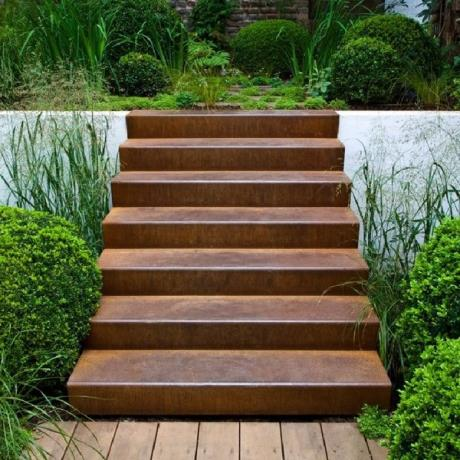 Corten Steel Stairs Landscape Feature