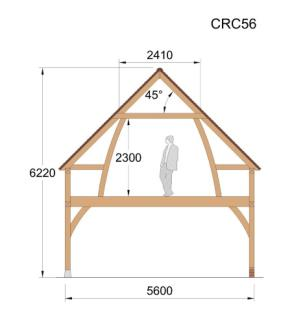Cross Section - CRC56 Oak framed Building / garage / 2 story / roof space timber wood